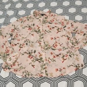 Forever 21 Light Pink Garden Print Blouse